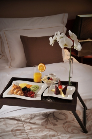 breakfast hotel: Breakfast in bed  Stock Photo