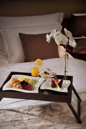hotel service: Breakfast in bed  Stock Photo