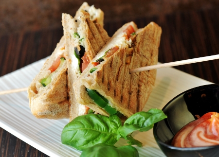 Healthy veggie panini sandwiches, Freshly grilled panini with olives, basil leaves, fresh red and green peppers, tomatoes, and mozzarella cheese served on ciabatta bread with cream ketchup sauce  Stock Photo