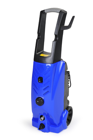 lue pressure portable washer with hose on isolated pure white background  photo