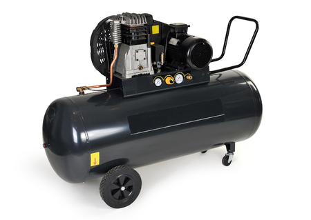 Black compressor isolated on a white background   Imagens