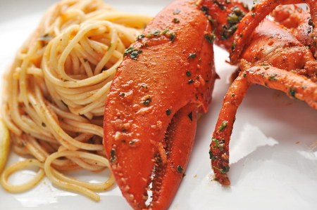 Seafood pasta linguine with fresh lobster  photo