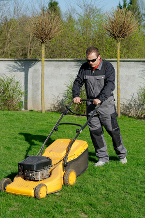 lawn mower man working on the backyard  photo