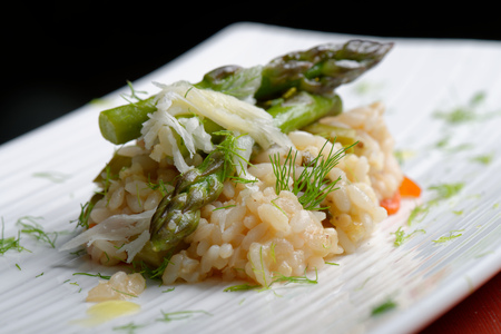 Vegetarian Risotto with asparagus and Parmesan cheese   photo