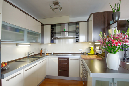modular home: Interior of stylish modern house, kitchen  Stock Photo