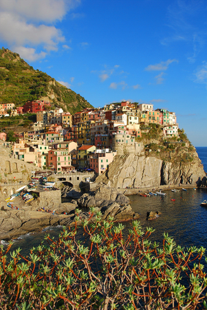 spezia: View of Manarola  Manarola is a small town in the province of La Spezia, Liguria, northern Italy   Stock Photo
