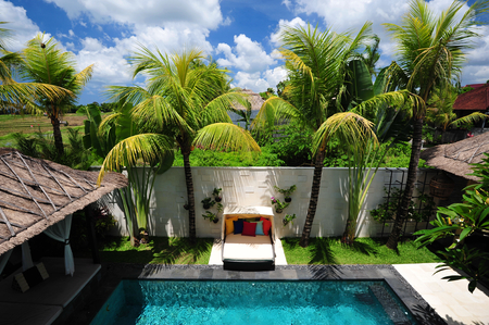bali province: Modern tropical villa with swimming pool in nature  Stock Photo