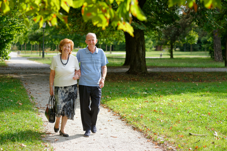 Senior happy couple walking in the park  Imagens