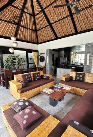 Interior of luxury tropical villa   Lounge area photo