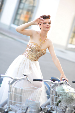 Bride on bike photo