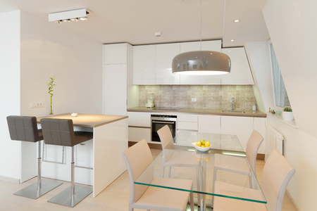 back kitchen: Interior of stylish modern house, kitchen  Stock Photo