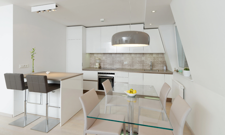 Interior of stylish modern house, kitchen  photo