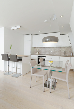 fitted unit: Interior of stylish modern house, kitchen  Stock Photo