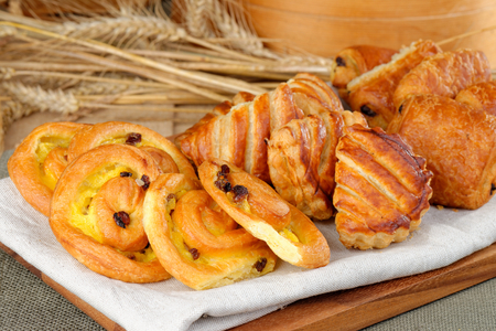 Selection of freshly made pastries served for breakfast
