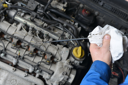 oil change: An auto mechanic checks the oil level in a car engine during routine maintenance.