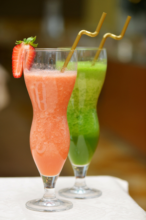 Strawberry and vegetable healthy smothies photo