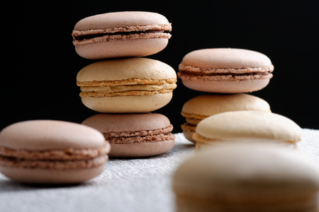 boulangerie: Original French macaroons in Paris Stock Photo