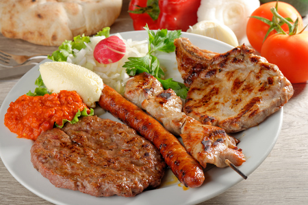 balkan: Mixed grill on a plate, Balkan food (selective focus)