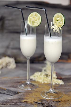 Summer sorbet cocktails with elderflowers Stock Photo