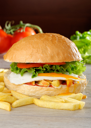Big veggie burger with egg, fresh vegetables and french fries photo