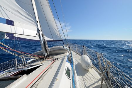 Sailing yacht on the race Stock Photo
