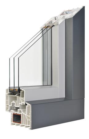 tripple: AluminiumPlastic window profile Stock Photo