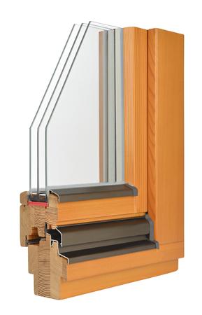 Wooden window profile with tripple glazing photo