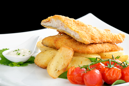 Traditional English food - Fish and chips photo
