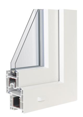 PVC-Profile Fenster mit Isolierverglasung Standard-Bild