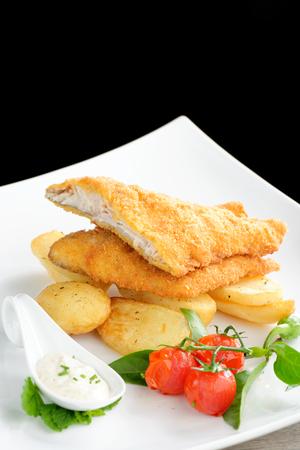 english food: Traditional English food - Fish and chips Stock Photo