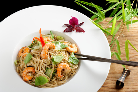chinese noodles: Shrimp Yakisoba, noodles with prawn, traditional chinese plate Stock Photo