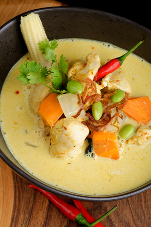 thai pepper: Traditional thai yellow curry with chicken
