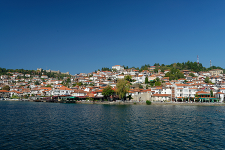 18 month old: View of Ohrid old town and old fortress from a boat. Lake Ohrid is one of the most famous holiday destinations in the Balcans.