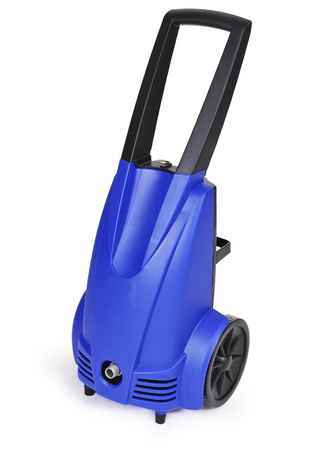 Blue pressure portable washer side view on pure white background photo