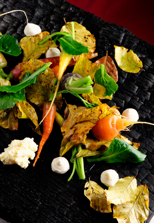 Autumn vegetables in fine dining restaurant photo