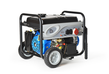 Gasoline powered, ten horsepower, emergency electric generator isolated on white background. photo