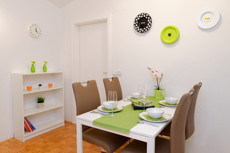 dining table and chairs: Modern dining room Stock Photo
