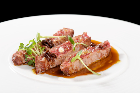 Fine dining, Angus Beef Steak fillets with Roasted tomatoPepper Sauce