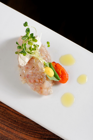 Fine dining, una fish tartare taco photo