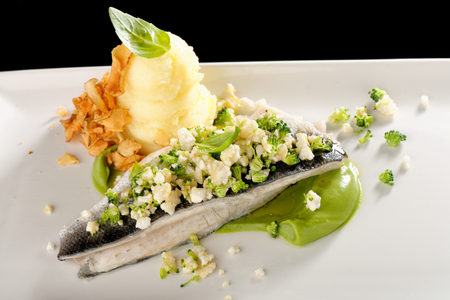 seabass: Seabass fillet with vegetable and mashed potato Stock Photo