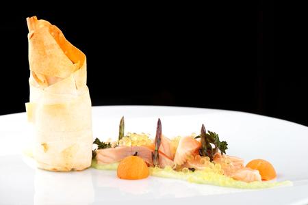 haute cuisine: Haute cuisine, pink salmon fillet with caviar and vegetable