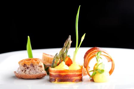 Fine dining, Gourmet food ham egg bread Standard-Bild