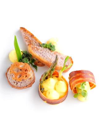 멋진 식사, 미식가 식품 햄 계란 빵 스톡 콘텐츠