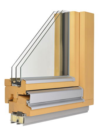 glazing: Aluminumwooden window profile with triple glazing Stock Photo