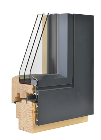 Aluminumwooden window profile with triple glazing Stock Photo