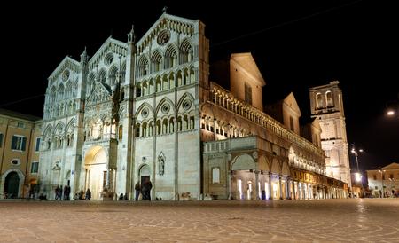 architectural architectonic: Duomo of Ferrara at night, unesco world heritage, Italy Stock Photo