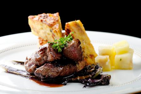 venison: Venison meat steak with potato and vegetable