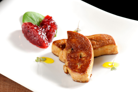 Fine dining, Roasted foie gras with cherry sauce