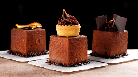 dining table: Fine dining, French dark chocolate gourmet mignon cakes