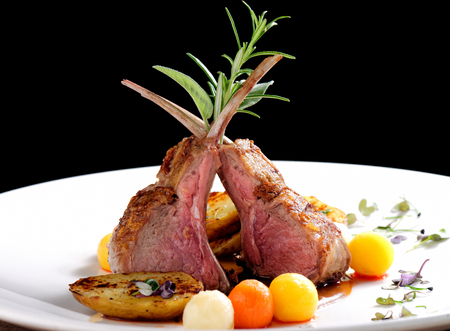 upmarket: Fine dining, roasted Lamb chops with potato, rosemary and vegetable sauce